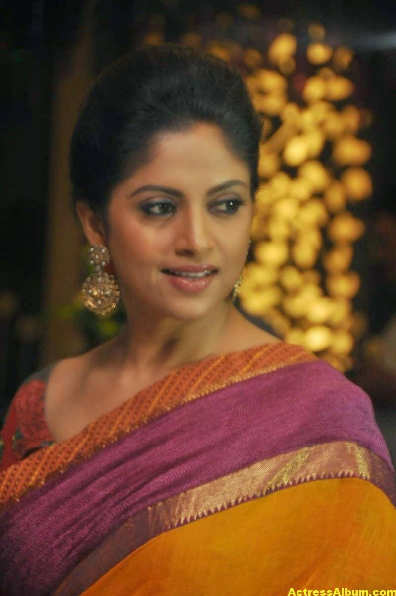 Nadhiya Latest Spicy Stills In Colorful Yellow Saree -7259