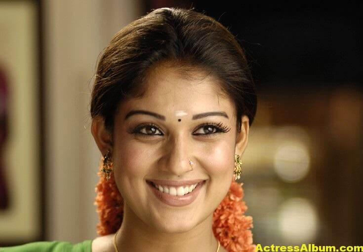 Nayantara Gorgeous Face Close Up Stills In Green Saree 4