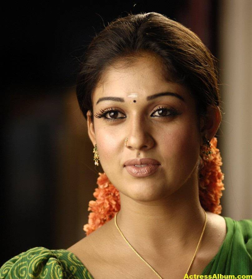 Nayantara Gorgeous Face Close Up Stills In Green Saree 5