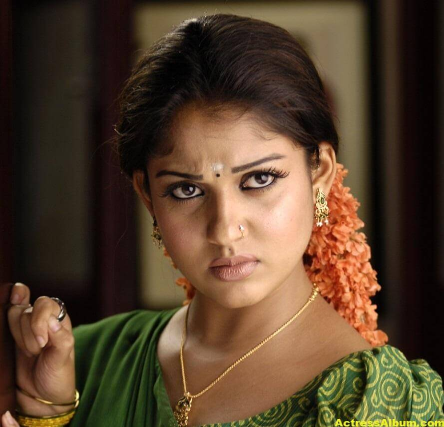 Nayantara Gorgeous Face Close Up Stills In Green Saree 6
