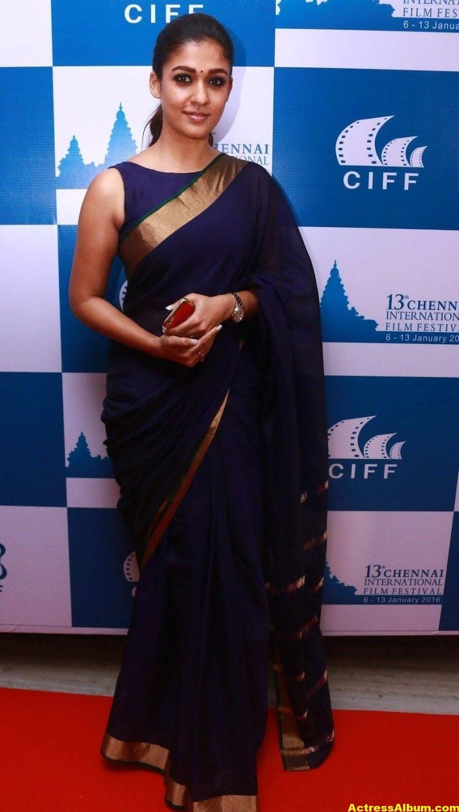 Nayantara Latest Stills In Very Hot Blue Saree 1