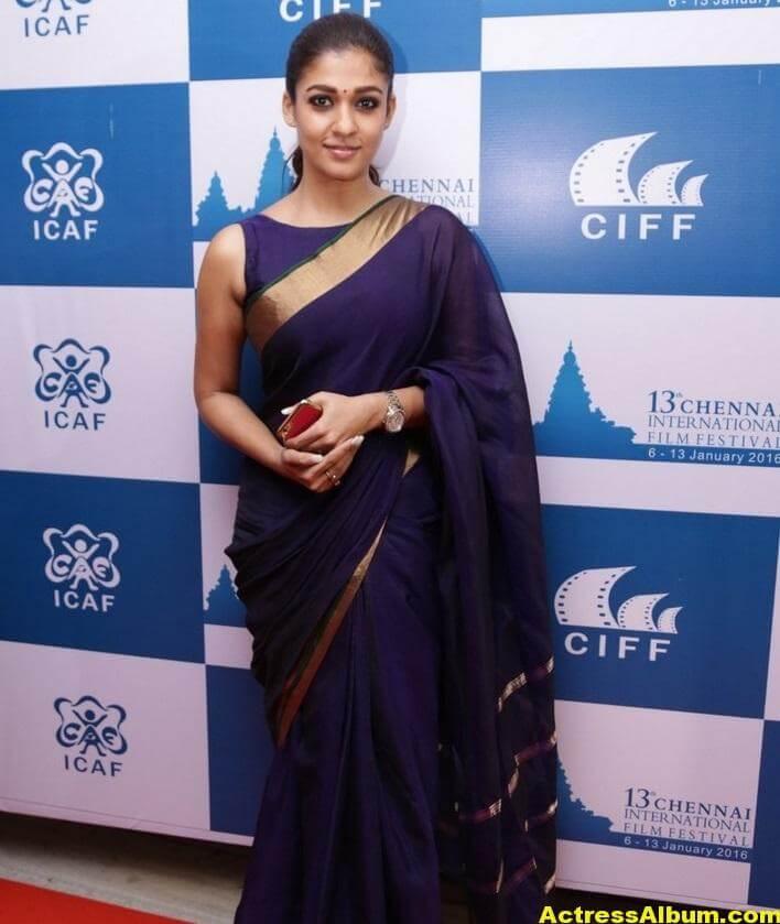 Nayantara Latest Stills In Very Hot Blue Saree 2