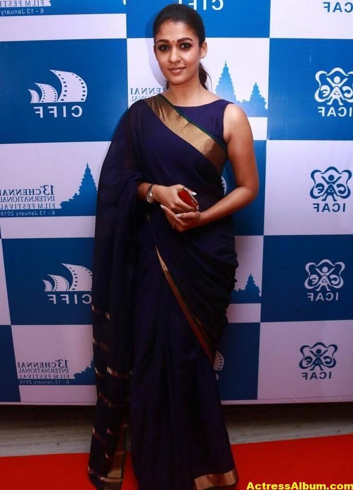 Nayantara Latest Stills In Very Hot Blue Saree 3