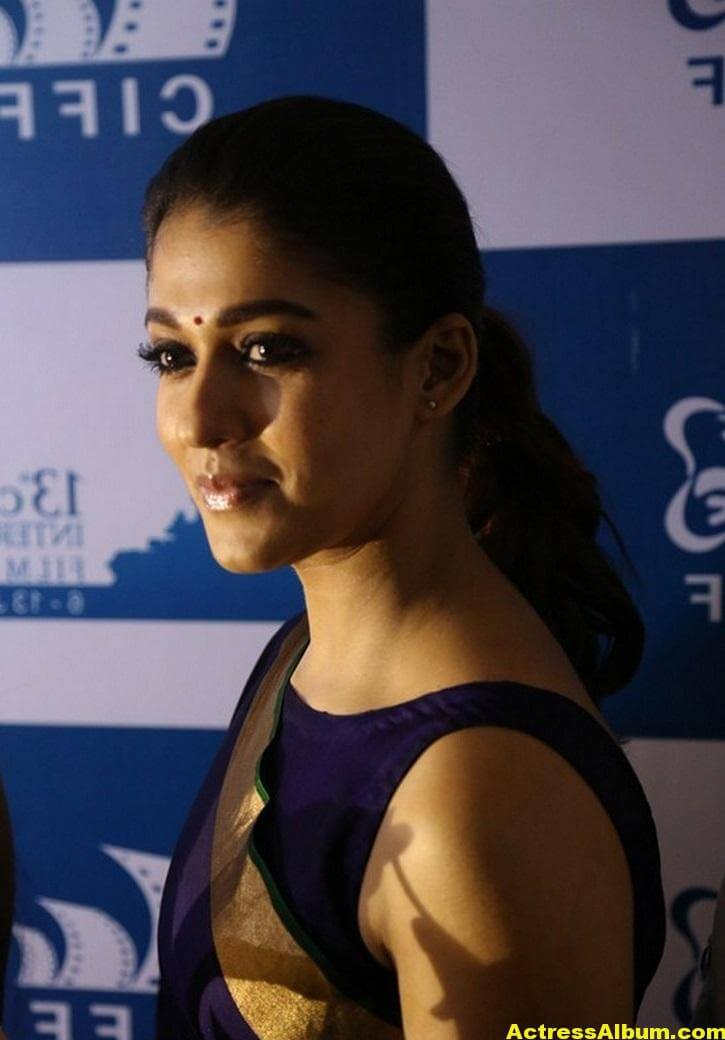 Nayantara Latest Stills In Very Hot Blue Saree 4