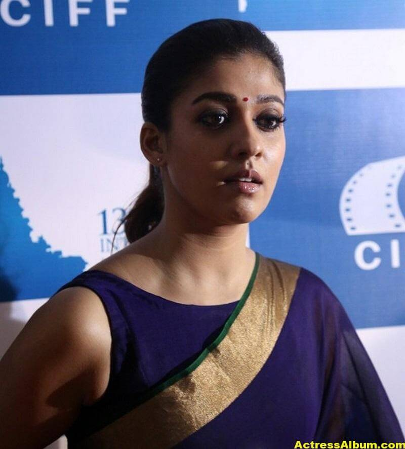 Nayantara Latest Stills In Very Hot Blue Saree 5