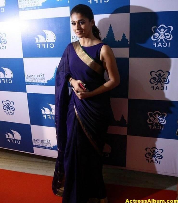 Nayantara Latest Stills In Very Hot Blue Saree 7