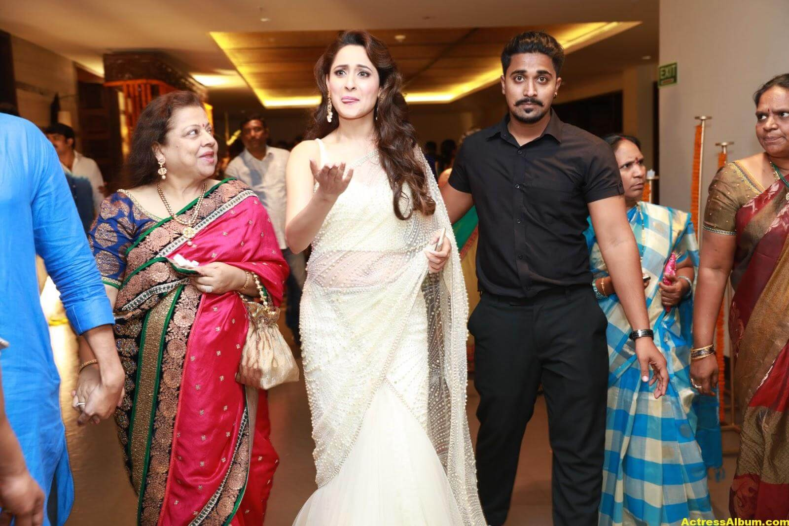 Pragya Jaiswal In White Saree At Director Krish Marriage 2