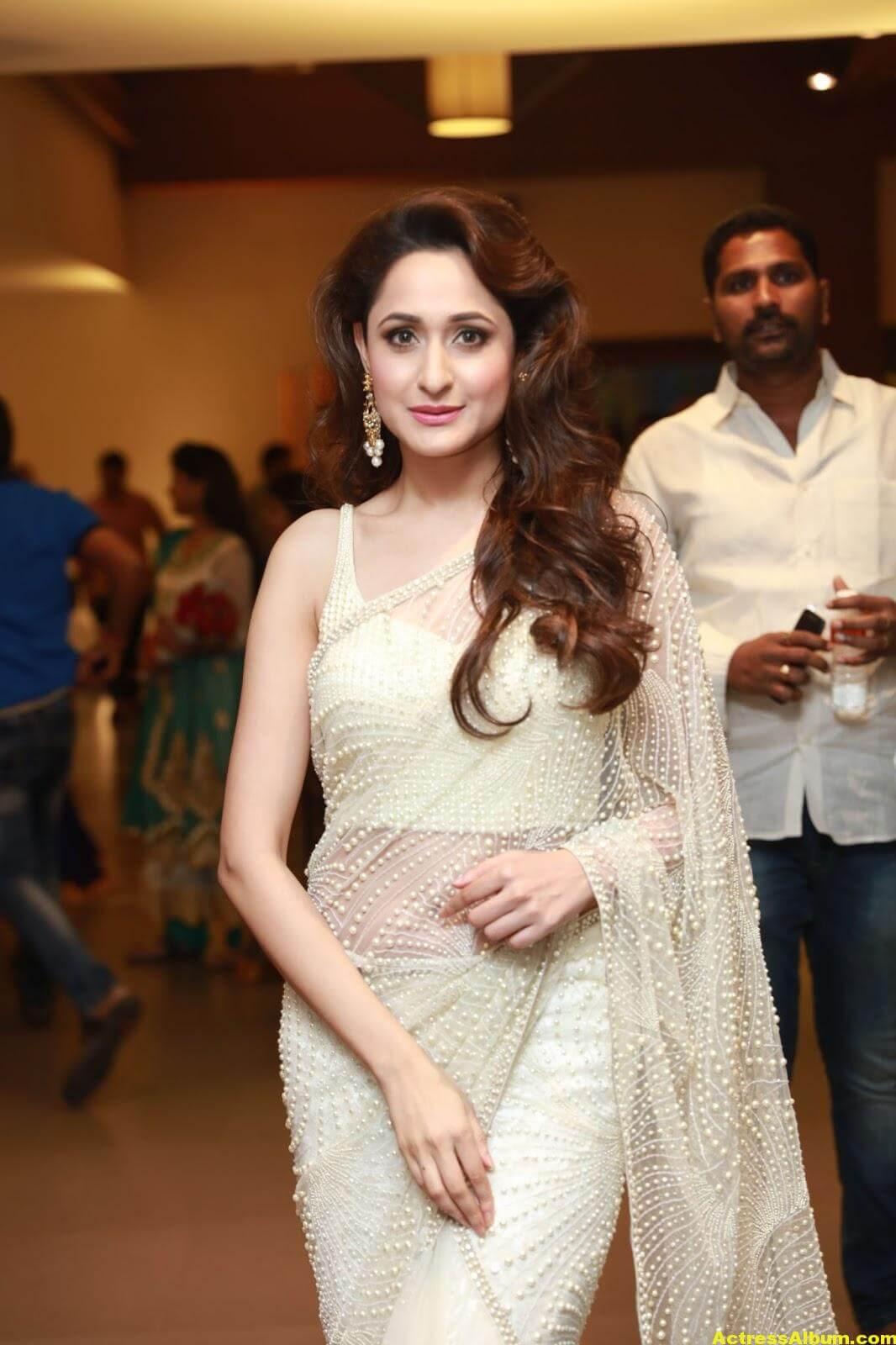 Pragya Jaiswal In White Saree At Director Krish Marriage 4