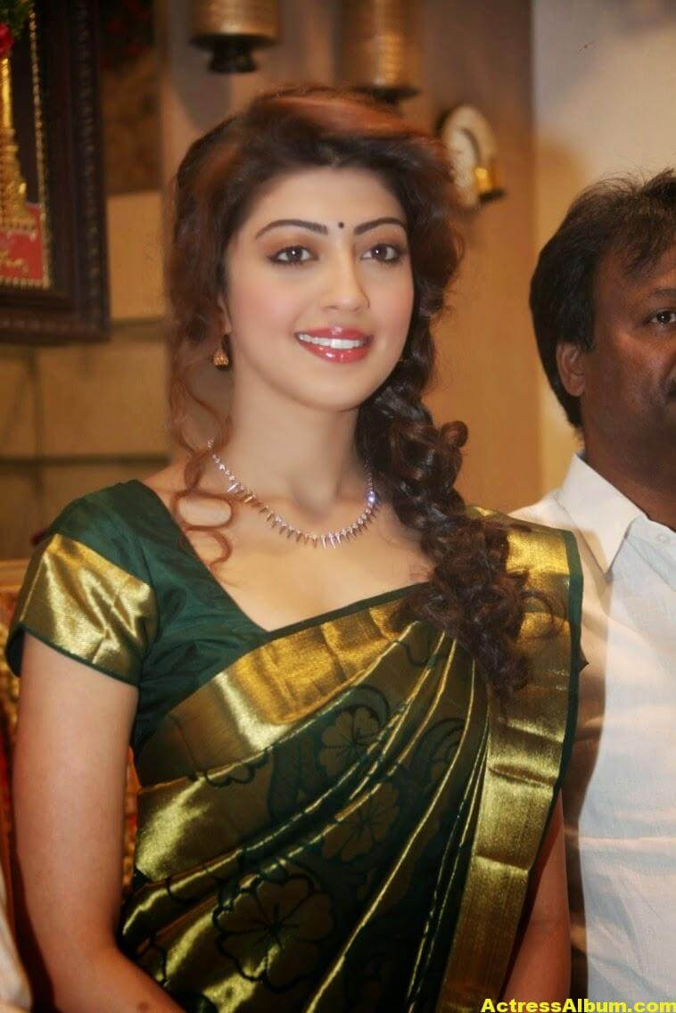 Pranitha Subhash Photos In Green Pattu Saree 3