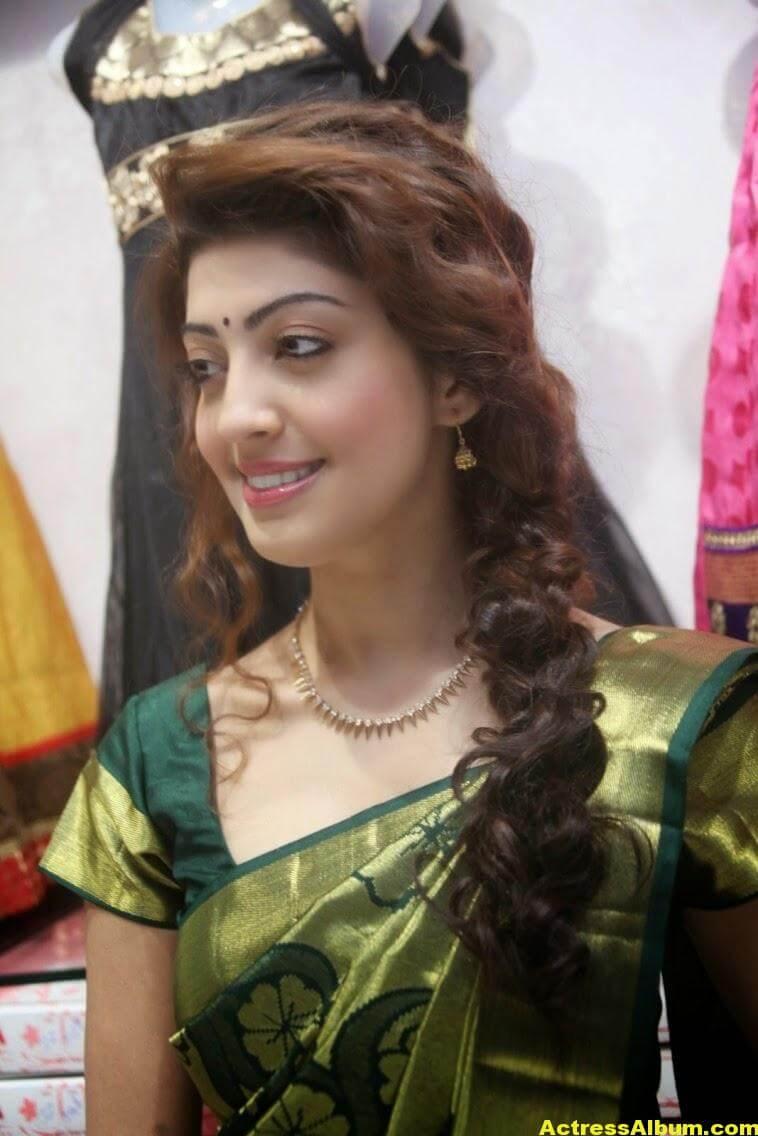 Pranitha Subhash Photos In Green Pattu Saree 6