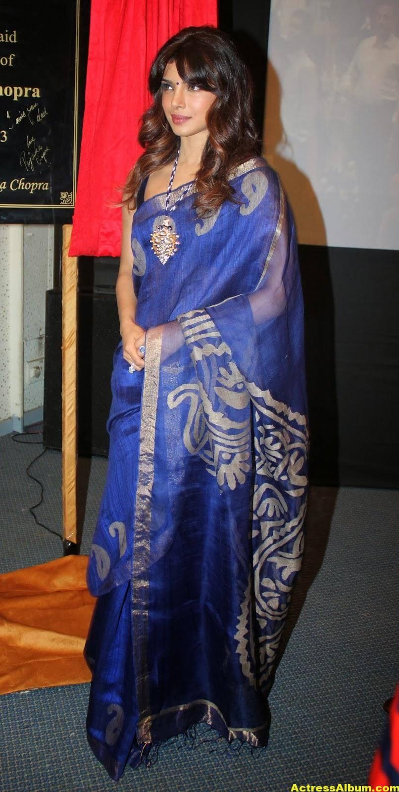 Priyanka Chopra Latest Photos In Blue Saree 1