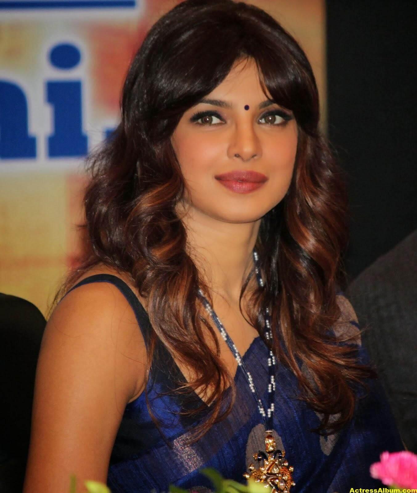 Priyanka Chopra Latest Photos In Blue Saree 3