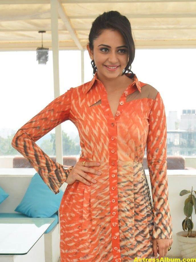 Rakul Preet Singh Latest Photos In Orange Dress 4