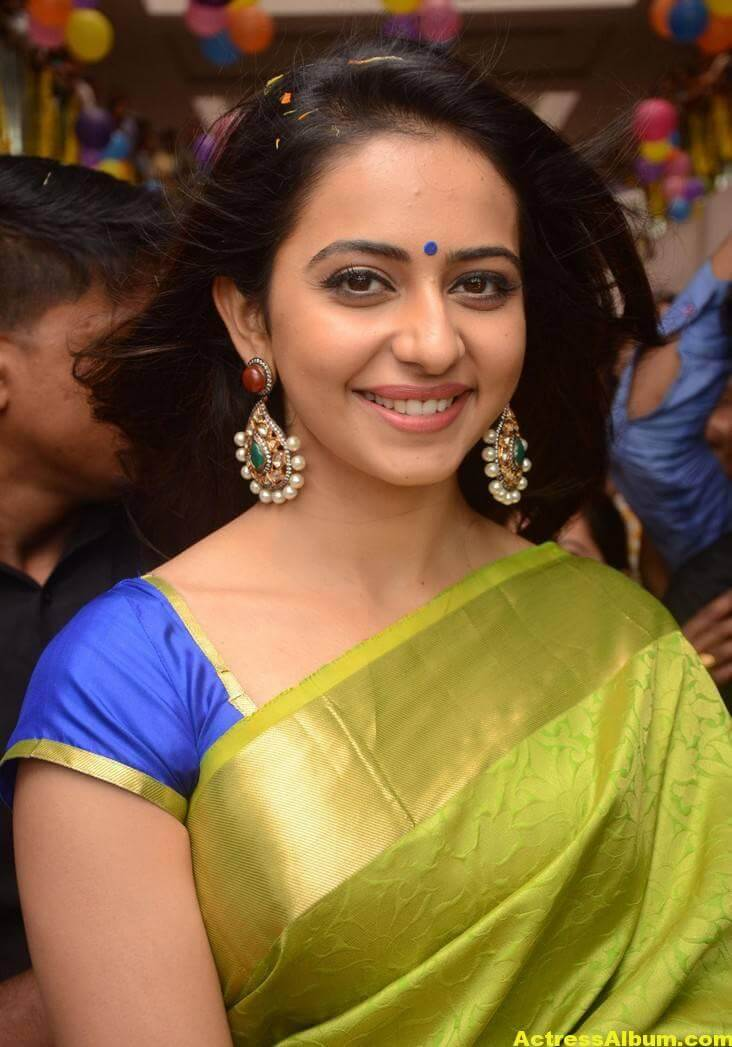Rakul Preet Singh Stills At Shop Launch In Green Saree 1