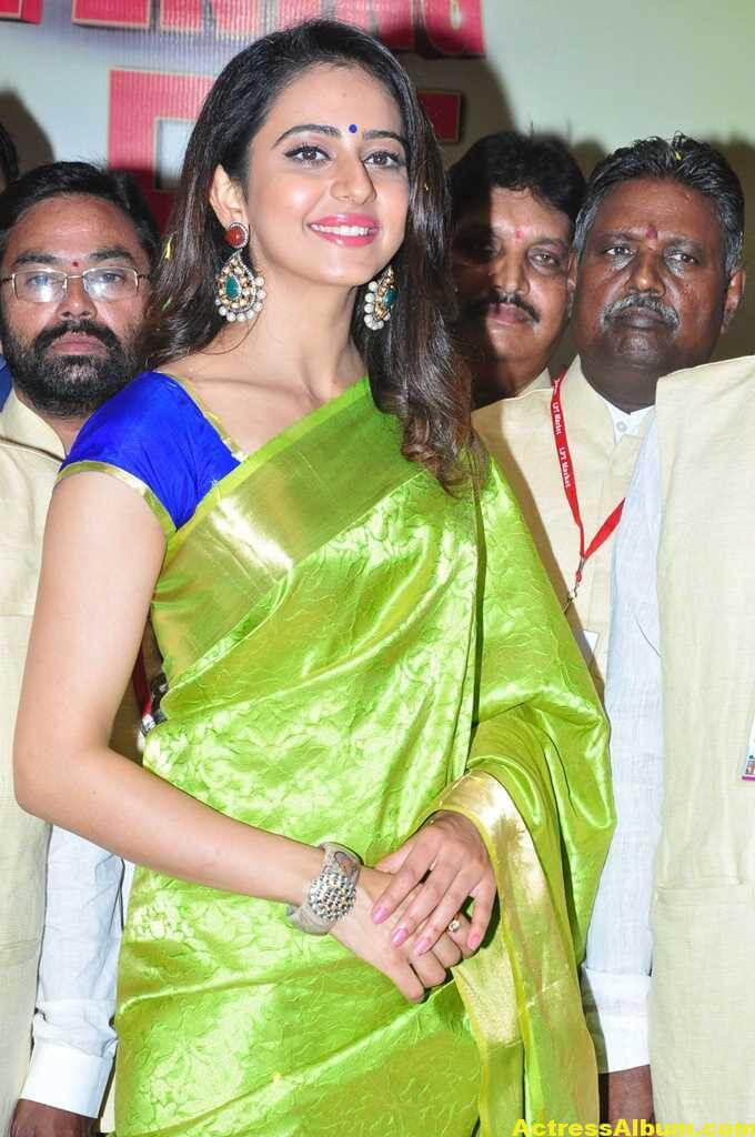 Rakul Preet Singh Stills At Shop Launch In Green Saree 4