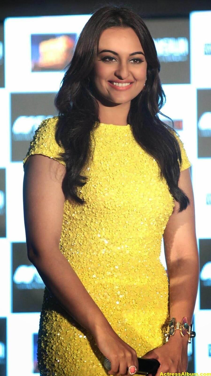 Sonakshi Sinha Spicy Stills In Yellow Dress 4