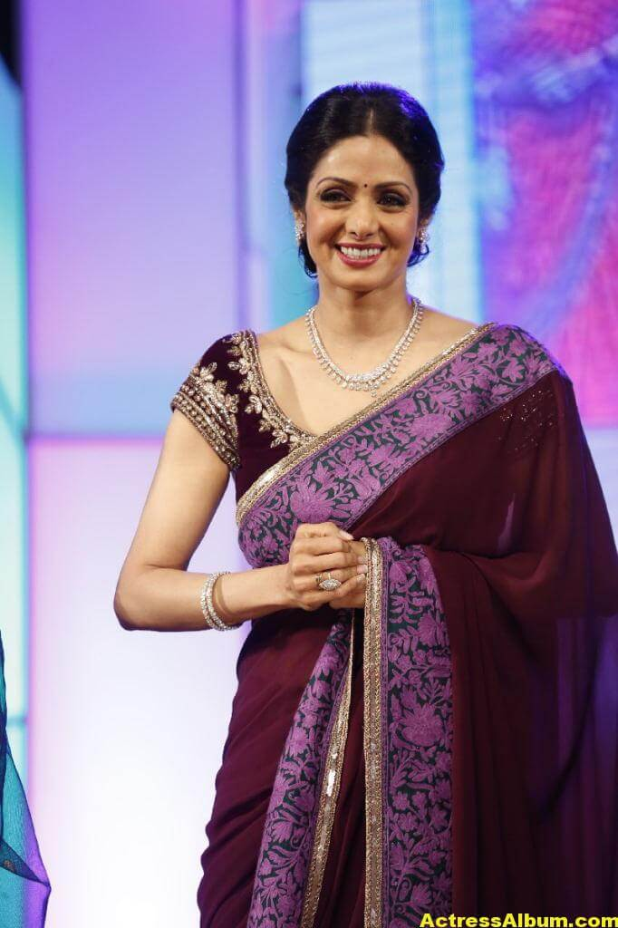 Sri Devi Latest Cute Stills In Colorful Maroon Saree 4