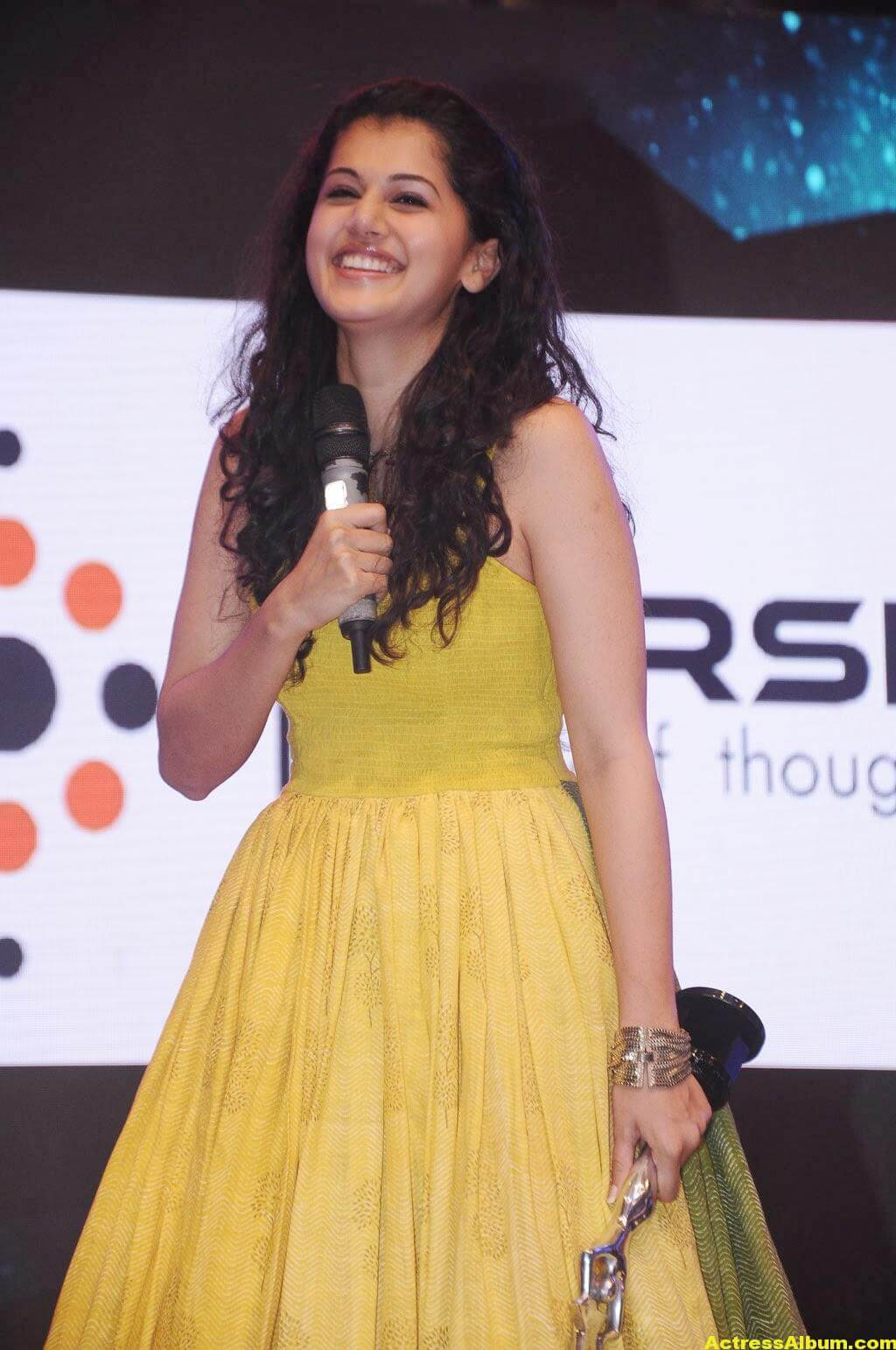 Tapsee Latest Hot Photoshoot Stills In Yellow Dress 2