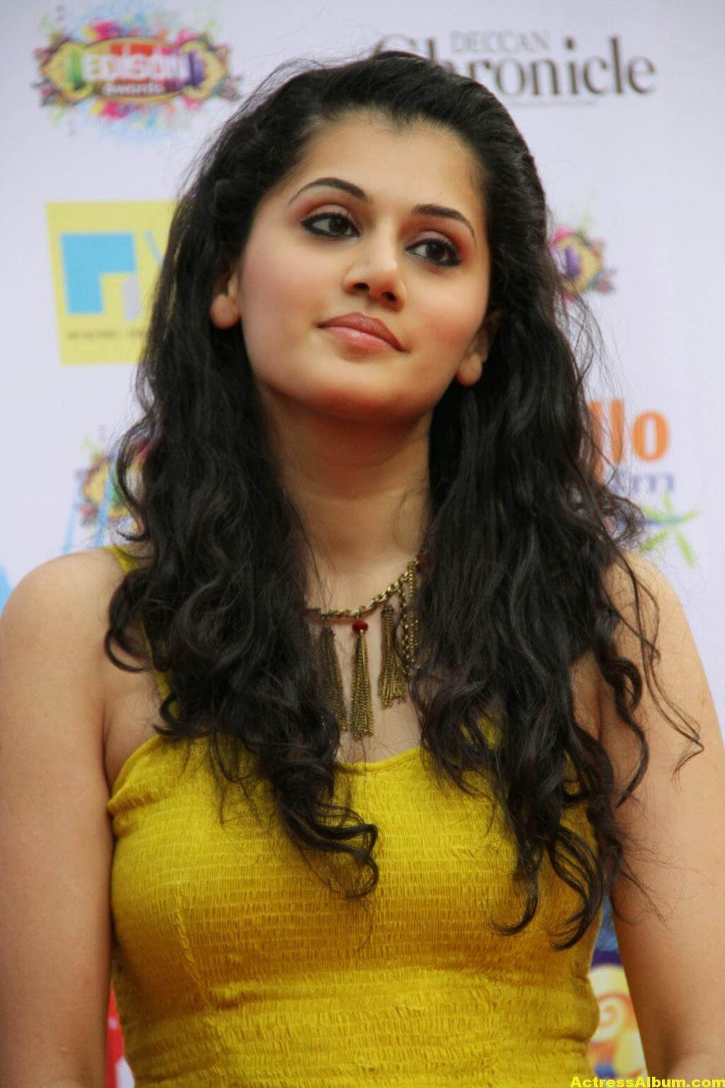 Tapsee Latest Hot Photoshoot Stills In Yellow Dress 3