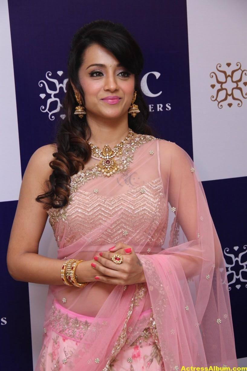 Trisha Hot Photos At Jewellery Shop Opening In Pink Saree 1