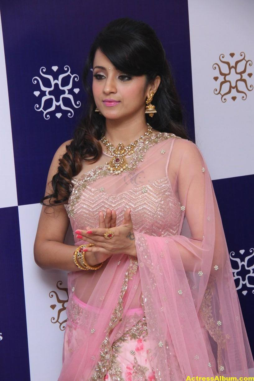 Trisha Hot Photos At Jewellery Shop Opening In Pink Saree 2