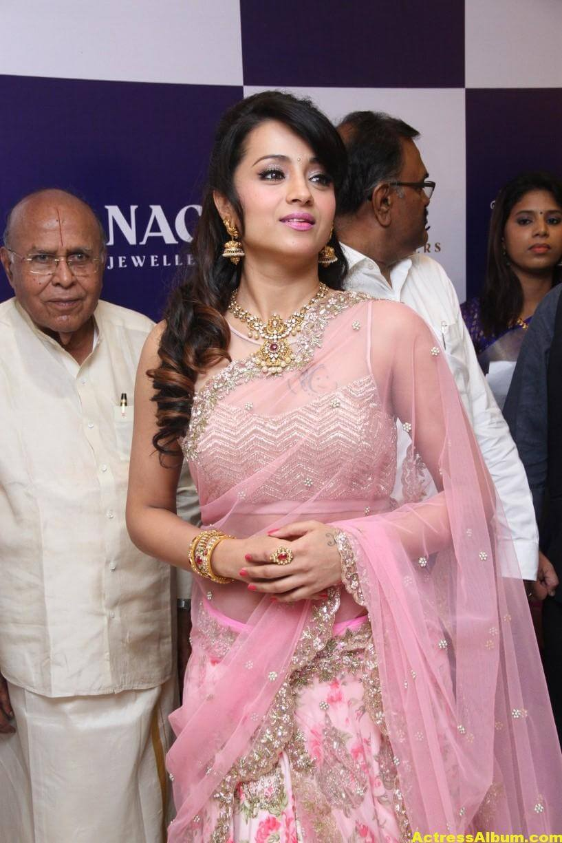 Trisha Hot Photos At Jewellery Shop Opening In Pink Saree 3