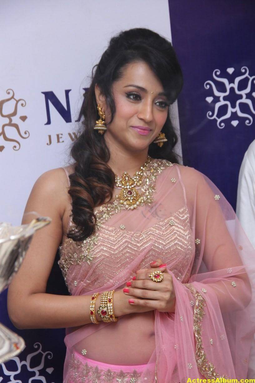 Trisha Hot Photos At Jewellery Shop Opening In Pink Saree 4