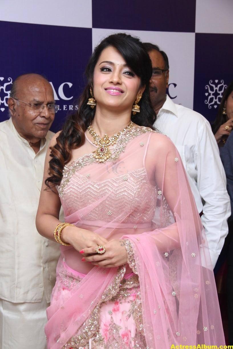 Trisha Hot Photos At Jewellery Shop Opening In Pink Saree 5