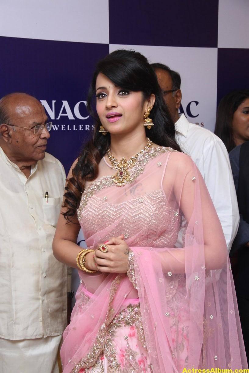 Trisha Hot Photos At Jewellery Shop Opening In Pink Saree 6