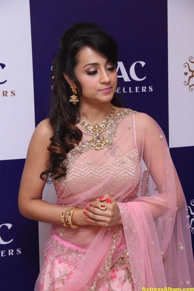 Trisha Hot Photos At Jewellery Shop Opening In Pink Saree 7