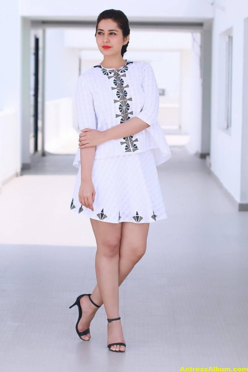 Rashi Khanna Hot Legs Show In White Mini Skirt - Actress Album-5016