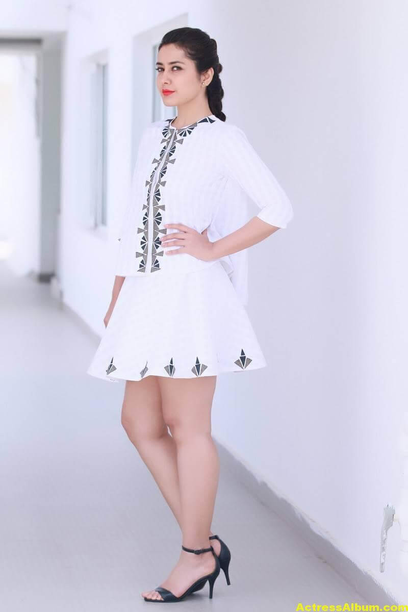 Rashi Khanna Hot Legs Show In White Mini Skirt - Actress Album-5907