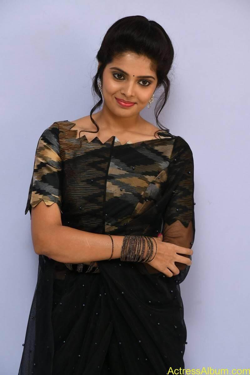 Actress Shravya Long Hair In Black Saree