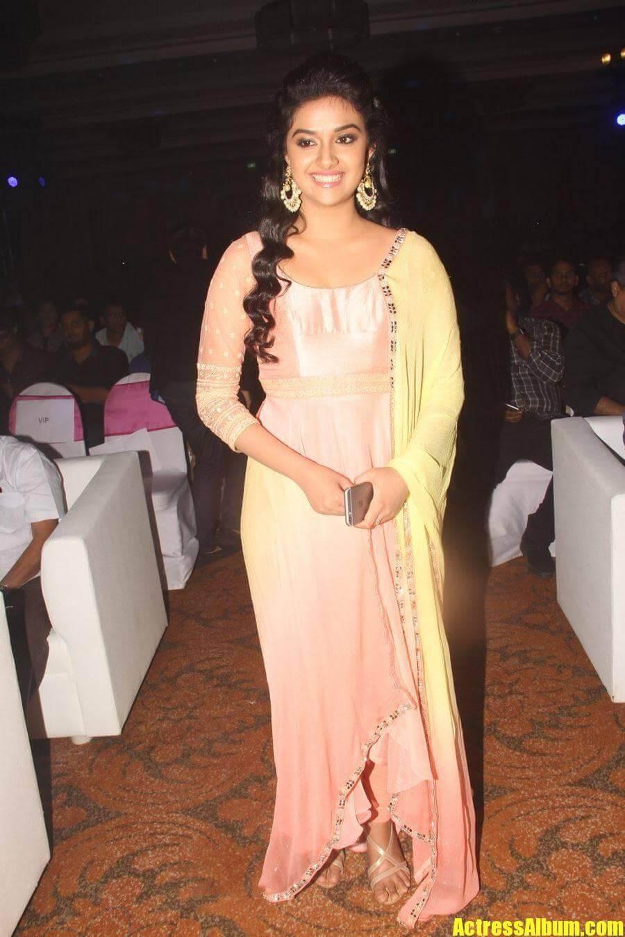 Actress Keerthi Suresh Smiling Photos In Pink Dress ...