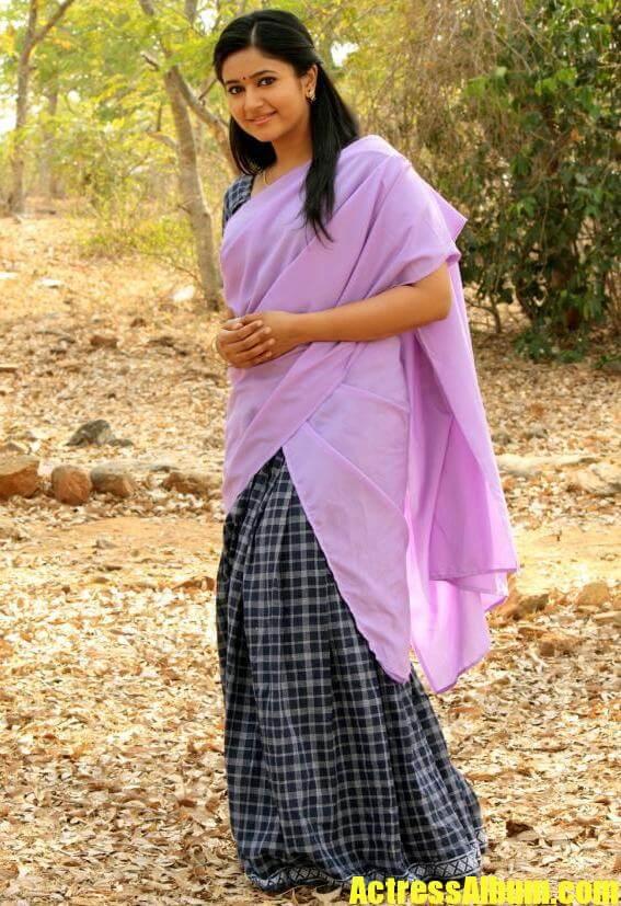 Chubby Actress Poonam In Violet Half Saree