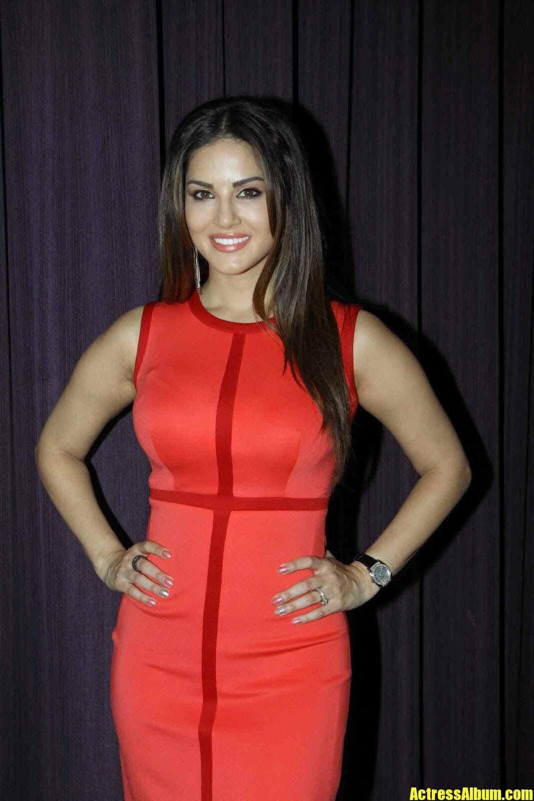 Sunny Leone Long Hair Stills In Maroon Dress - Actress Album-7238