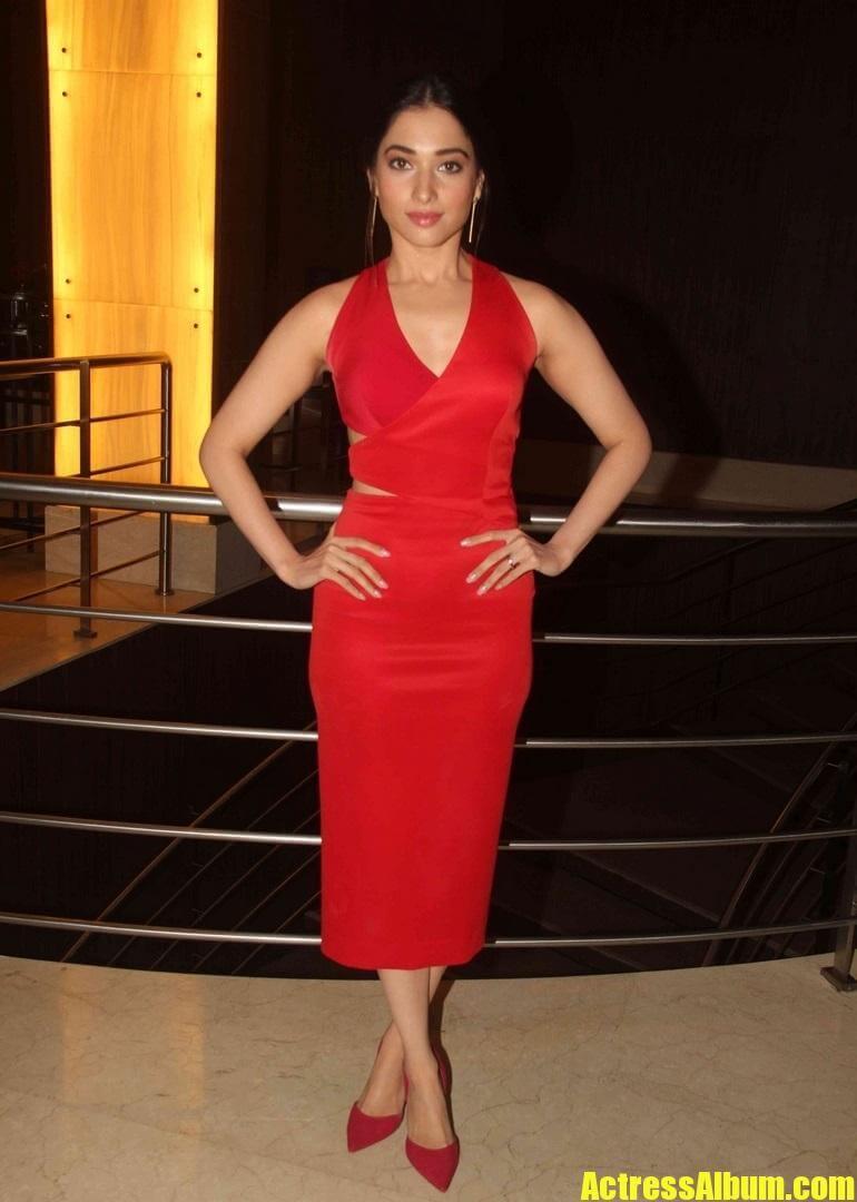 Tamanna In Sleeveless Red Dress