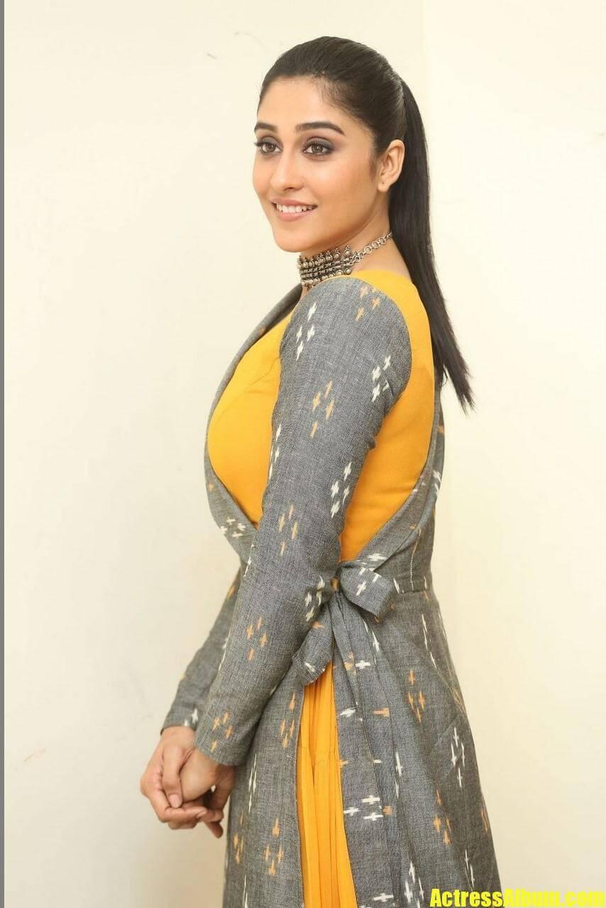 Tollywood Actress Regina Cassandra Hot Long Hair Style Ponytail In Yellow Dress (6) - Actress Album