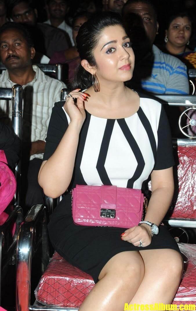 Charmy Kaur Legs Thigh Show In Mini White Dress Actress