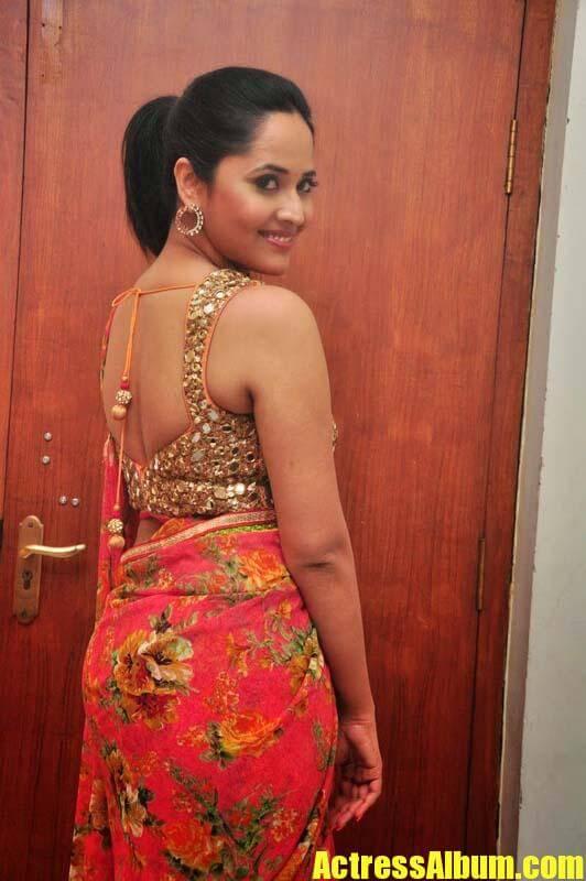 anasuya in backless saree blouse actress album