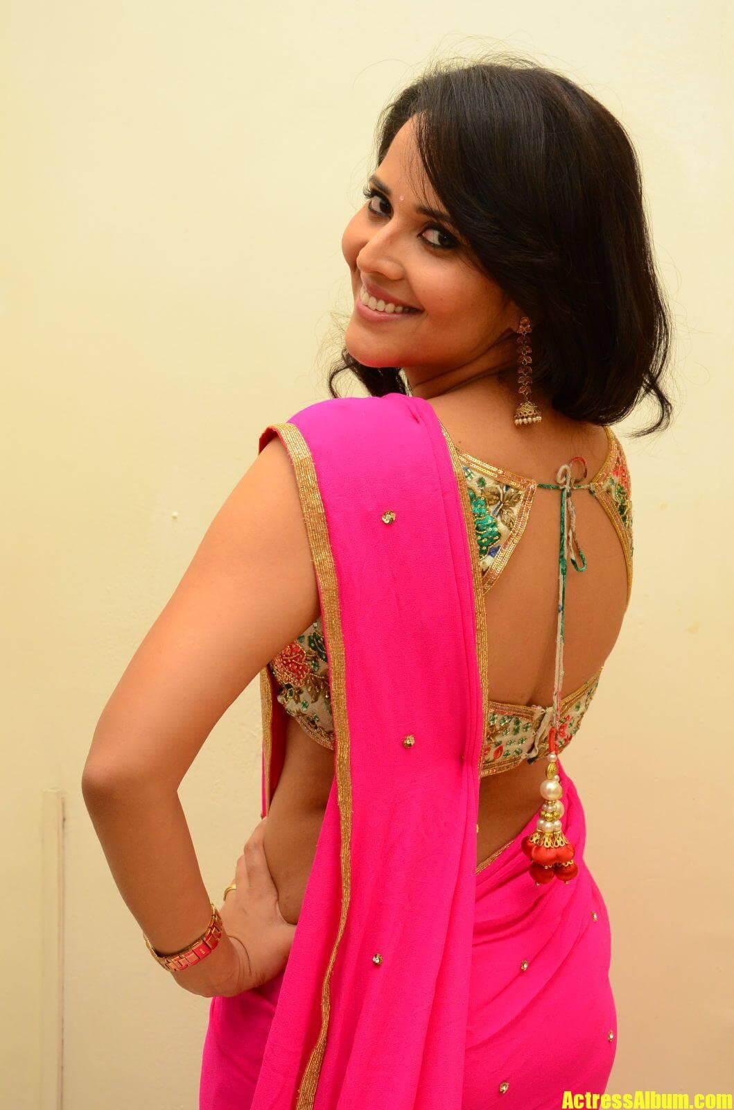 Anasuya Pink Saree Backless Blouse Actress Album
