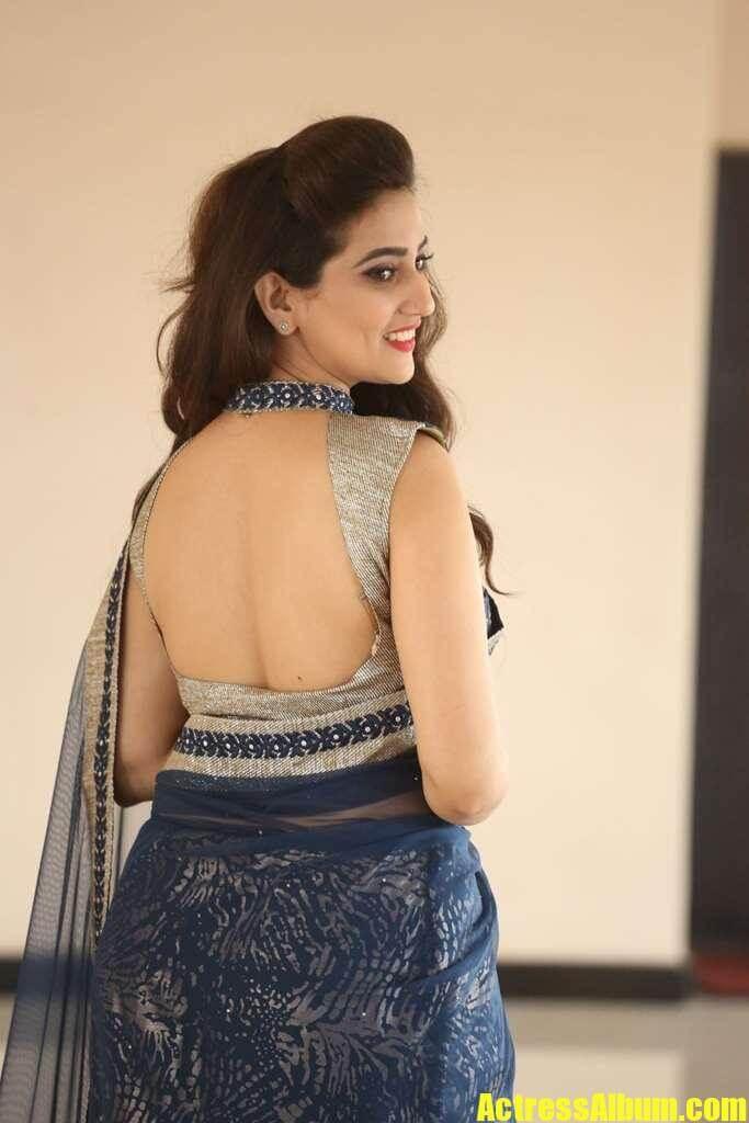 Anchor Manjusha In Saree With Backless Blouse - Actress Album-8935