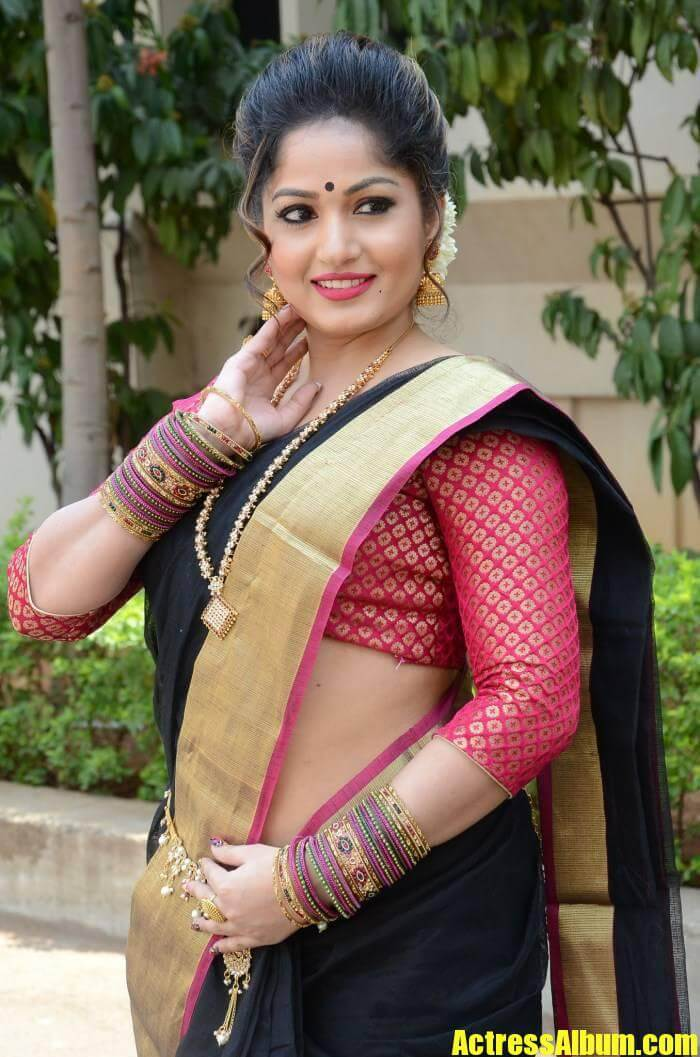 Madhavi Latha In Black Saree With Backless Blouse