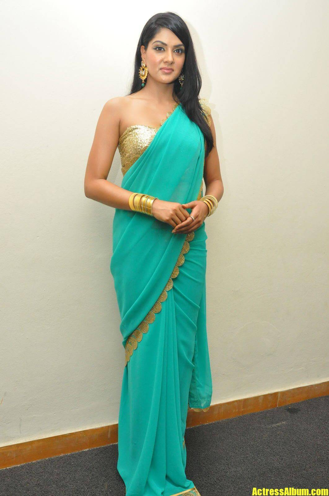 Sakshi Chaudhary In Blue Saree With Backless Blouse -4542