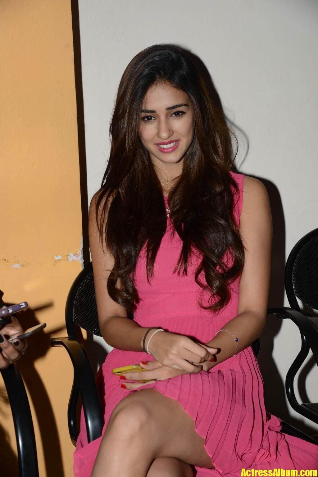 Indian Actress Disha Patani Hot Pink Dress Photos
