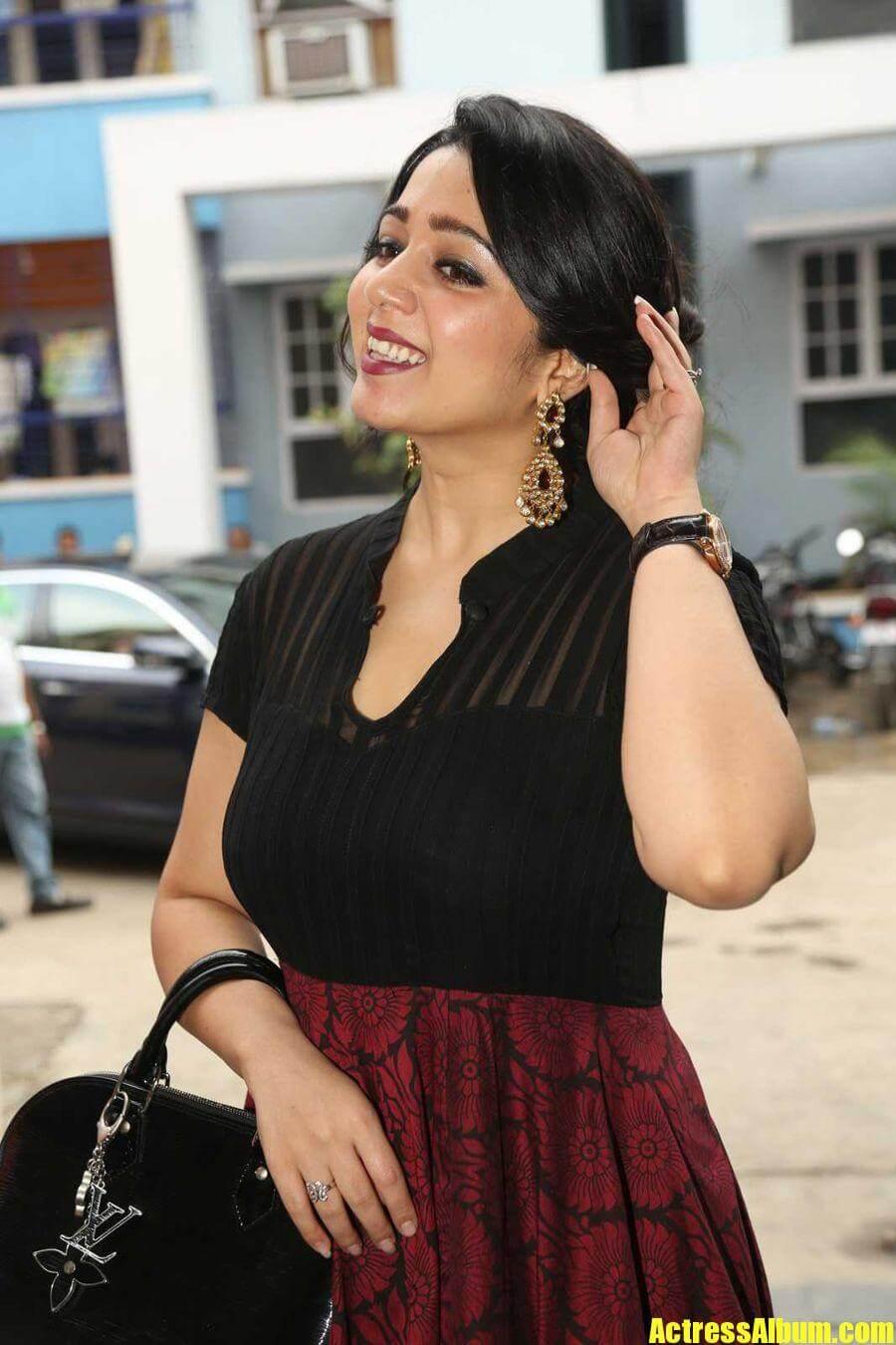 Tollywood Actress Charmi Kaur Black Dress Hot Photos -2486