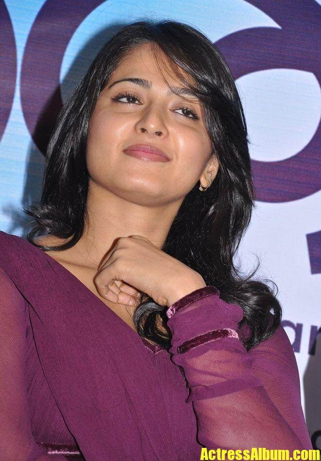 Actress Anushka Shetty Cool Photos In Violet Dress