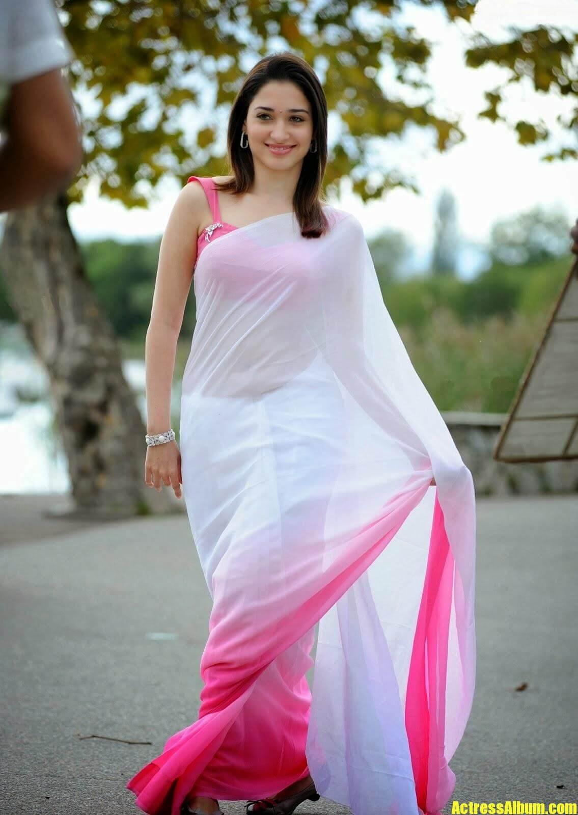 Tamanna Pics In White Saree