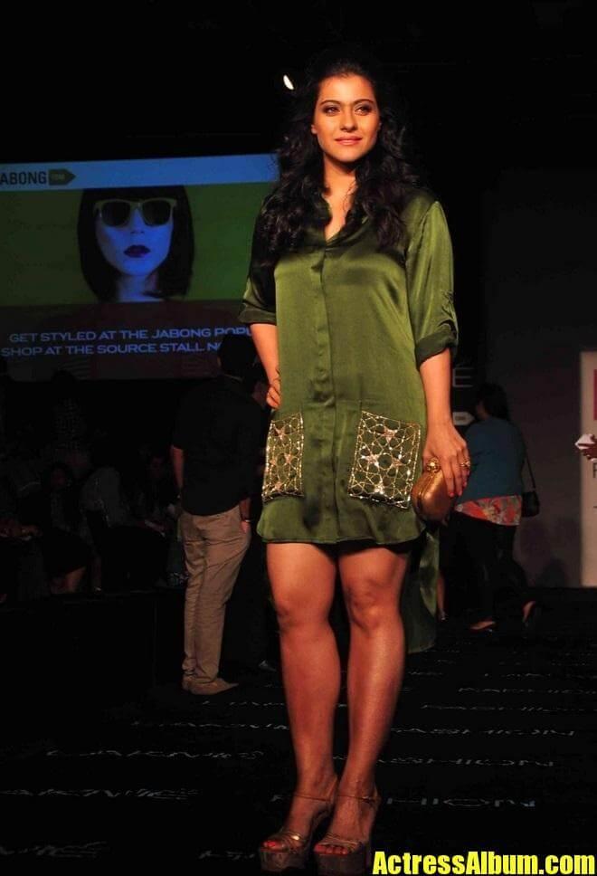 Indian Hot Lady Kajol Legs Thighs In Green Dress