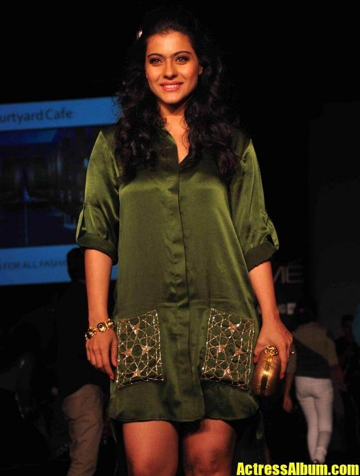 Indian Hot Lady Kajol Legs Thighs In Green Dress